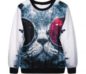 Cool Cat Print Fashion Crewneck Sweatshirt-Unisex